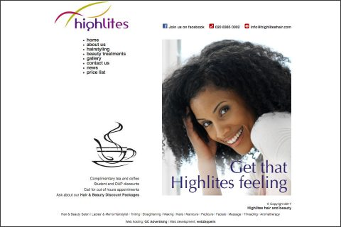 Highlites hair and beauty website homepage