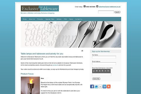 Exclusive tableware website