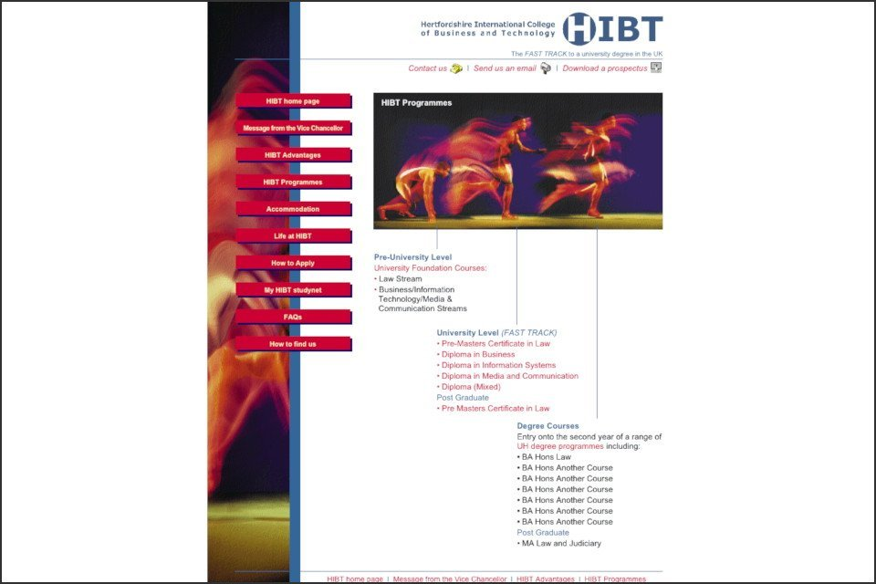 Hertfordshire International College of Business and Technology website