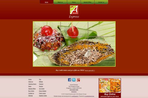 Anand Express website homepage