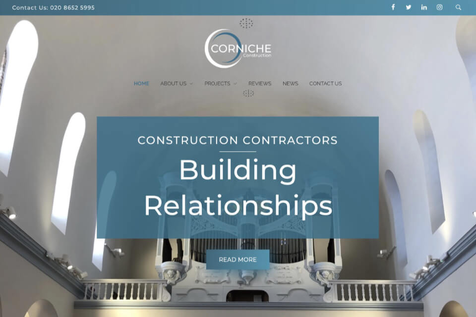 Corniche Construction website homepage